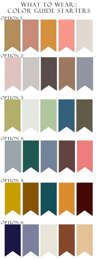 ... clothes with lots of words, logos or busy patterns. Just dress nicely  and you will look great! Below is examples of colors that go well together!